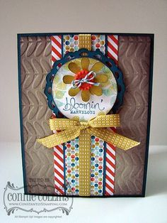 handmade card ... Bloomin' Marvelopus sentiment ... like the layer with the bow tied right underneather the focal point circle .. Stampin' Up!