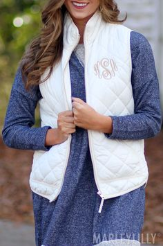 Style your Monogrammed Ivory Puffy Vest with a top or a dress for the PERFECT look!