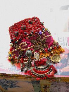 Mystery, Bohemian Gypsy, Beads Bracelet, Cuff, Antique, Indian Art. $150.00, via Etsy.