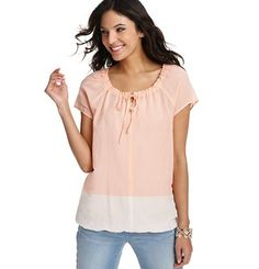 Colorblocked Short Sleeve Peasant Blouse