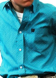 CINCH Jeans Boys  SHIRT Western TEAL print  Buttons NWT Youth MEDIUM #CINCH