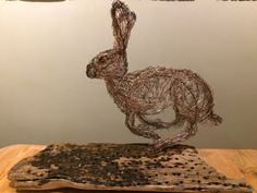 Brown Hare Wire Sculpture by Paul green