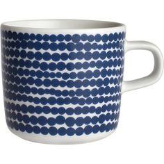 Marimekko Siirtolapuutarha Räsymatto Blue and White Cup in Kitchen and Table | Crate and Barrel 21