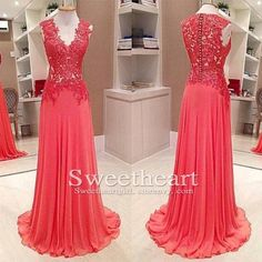 Elegant A-line red chiffon lace long prom dress for teens, bridesmaid dress