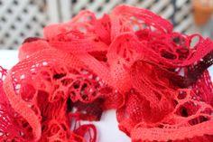 Red Ruffled Scarf - Premier Yarns Starbella - Cinnamon Candy