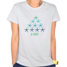 Beach Christmas Starfish Be Merry T-Shirt.