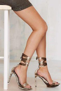 Nasty Gal Velvet Rope Burn Heels - Bronze