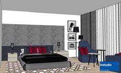 La testiera imbottita del letto dalle dimensioni importanti bilancia visivamente la stanza.  Lo schema colori, nei toni grigio, blu e #marsala, si ripete nell'area soggiorno di fronte alla finestra panoramica. #hoteldesign #interiordesign