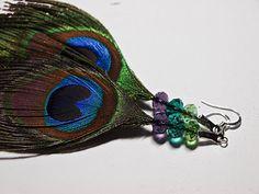 Beaded Peacock Feather Earrings Free DIY Tutorial