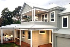 Two storey weatherboard house grey and White House exterior Hamptons style House Cladding, Facade House, House Roof, House Facades, House With Balcony, Hamptons Style Homes, The Hamptons, Exterior House Colors, Exterior Design
