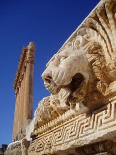 """Baalbeck"", Lebanon exquisitely detailed temple ruins of the Roman period, when Baalbek (aka Heliopolis), was one of the largest sanctuaries in the empire. Some of the largest and best preserved Roman ruins here. Towering high above the Beqaa plain, their monumental proportions proclaimed the power and wealth of Imperial Rome. The gods worshiped there, the the triad of Jupiter, Venus and and Bacchus, were grafted onto the indigenous deities of Hadad, Atargatis and a young male god of…"
