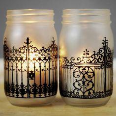 Porte en fer Charleston inspiré Mason Jar lanternes avec verre dépoli et peint à la main noir détaillant