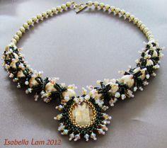 Silver Shadow Pearl Beadwork Necklace van bead4me op Etsy