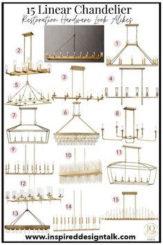 Restoration Hardware Kitchen, Restoration Hardware Lighting, Dining Room Light Fixtures, Modern Light Fixtures, Linear Chandelier, Chandelier Lighting, Home Lighting Design, Modern Lighting, Family Dining Rooms