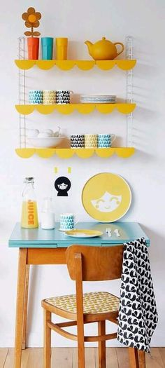small retro desk and chair for kitchen