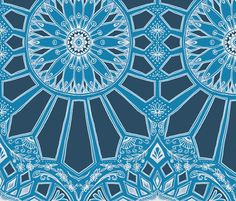 Deep Teal Blue Art Deco Geometric Lace fabric by micklyn on Spoonflower - custom fabric