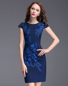 #AdoreWe #VIPme Bodycon Dresses❤️Designer YZXH Royal Blue Beaded Embroidery Cap Sleeve Bodycon Midi Dress - AdoreWe.com