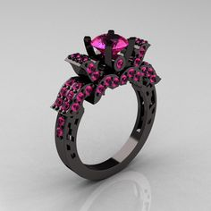 French 14K Black Gold 1.0 Carat Pink Sapphire Wedding Ring, Engagement Ring R198-14KBGPSS. $2,559.00, via Etsy.