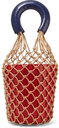 STAUD - Moreau Two-tone Macramé And Leather Bucket Bag - Red#ad