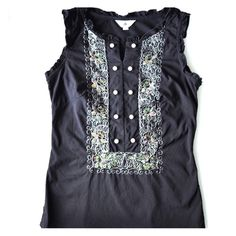 """CIN Collection Black Sleeveless Embroidered Top Embroidered pull on top. Embellishments include decorative round white buttons, beads and sequins. Ruffle arm openings. Elastic material. Imported. Size on the shirt indicates S, however it runs small, more like XS or 0. About 32"""" in bust circumference and 21.5"""" from shoulder to hem. Worn few times, great condition. Tops Blouses"""