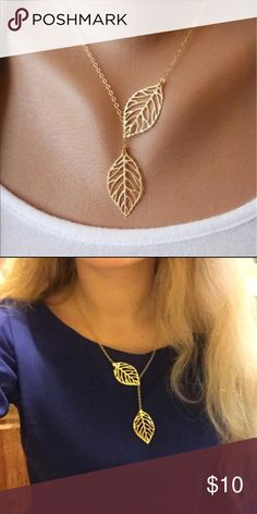 (A2) Gold Leaf Necklace Pretty gold toned zinc alloy necklace. Chain is about 20 inches. This has a lobster clasp closure. New in package. Jewelry Necklaces