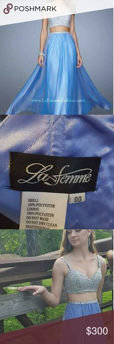 La femme Glamorous La Femme Periwinkle Two-Piece Crop Top Dress. Stunning beaded top and waistband. Back zipper closure. You will be the Beautiful Bell of the Ball. Worn once. Like new. La Femme Dresses