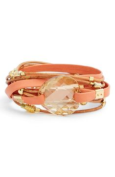 Festival Fashion | Coral leather wrap bracelet with a Swarovski crystal.