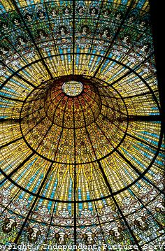 Stained glass ceiling in the Palace of Catalan Music, in Barcelona, Spain