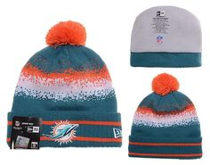 6abd2df128d08 Mens   Womens Miami Dolphins New Era 2016 Winter Warm NFL Team Colors Spec  Blend Knit Beanie Hat With Pom - Aqua   Orange