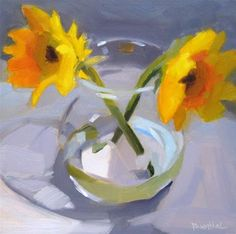 """Daily Paintworks - """"Yellow Flowers"""" by Robin Rosenthal"""