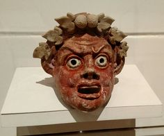 Mask of a Satyr, Greek, Sicily, 200-100 BC, Terracotta with polychromy
