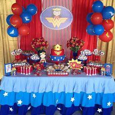 Wonder Woman Birthday, Wonder Woman Party, Birthday Woman, 1st Birthday Parties, Birthday Party Decorations, Baby Birthday, Popular Birthdays, First Birthdays, Anniversaire Wonder Woman