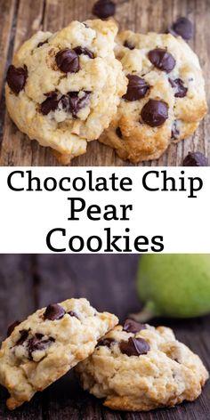 Chocolate Chip Walnut Cookies, Hazelnut Cookies, Chocolate Chip Cookie Dough, Pear Dessert Recipes, Nut Recipes, Drop Cookie Recipes, Cookie Dough Recipes, Recipe Using Pears
