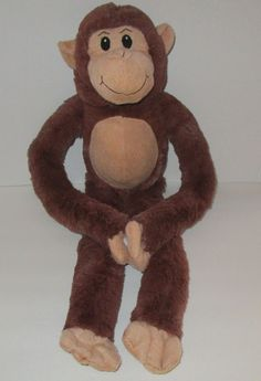 "Long 25"" Monkey Ape Chimp Brown Plush Stuffed Animal Sticky Hands Sewn Eyes Toy #Goffa"