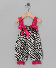 Look at this Pink Zebra Satin Playsuit - Infant on #zulily today!