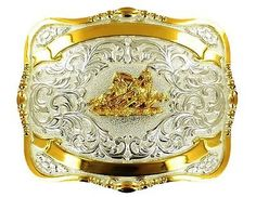 Crumrine Western Belt Buckle Trophy Mens Team Roper L Silver Gold 385