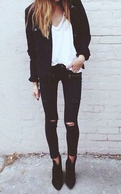 Oh yeah.  Classic Black denim and a white tee. Love this classy, casual look!