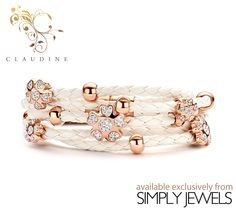 #Claudine White #Leather #Bracelet with White Stones and #Rose Plated Stainless #Steel -xx- #brandnew #jewellery #collection #fashion #style #loveit http://simplyjewels.biz/view_product.php?id=2278