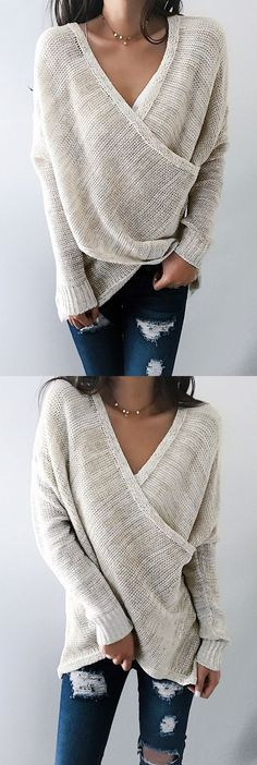 Chicnico Simple Casual V Neck Front Cross Weekend Sweater Top ready for Fall fashion! Find fashionable outfits for the new Casual Outfits, Cute Outfits, Fashion Outfits, Fashionable Outfits, Womens Fashion, Sweater Outfits, Beautiful Outfits, Fall Winter Outfits, Autumn Winter Fashion