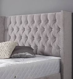 curved upholstered bed King Size Bed Mattress, Headboards For Beds, White Headboard, Grey Bedroom Furniture, Wayfair Furniture, Sofa Bed With Storage, Upholstered Bed Frame, Upholstered Headboard, Upholstered Beds