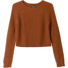 Monki Bo knitted top ($28) ❤ liked on Polyvore featuring tops, sweaters, shirts, jumpers, oxidised ochre, crop shirts, shirt crop top, cropped jumper, brown crop top and brown sweater