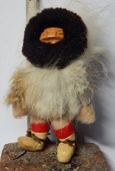 Vintage Inuit Eskimo Yupik Doll, Wood face, with fur, beads, etc. Tag, signed Felicia Tetpon, Alaska Point