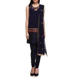 Dark Blue Viscose Georgette Embroidered Churidar Suit #indianroots #ethnicwear #churidarsuit #georgette #viscose #embroidered #occasionwear #eveningwear #summerwear
