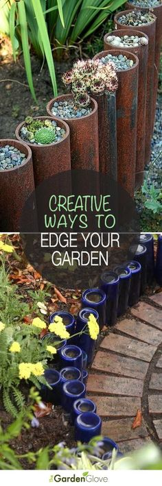 Garden Edging: Landscape Edging Ideas with Recycled Materials Creative Ways to Edge Your Garden Landscape Edging, Garden Edging, Garden Planters, Rocks Garden, Garden Crafts, Garden Projects, Diy Crafts, Container Gardening, Gardening Tips