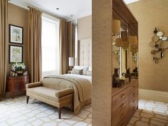 bedroom in Elspeth Lynn's London townhouse apartment combines functionality and old-school glamour with a palette of restful caramels and golds. A partially mirrored wall divider acts as a handy storage and dressing area
