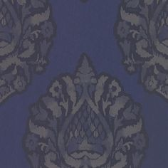 Kavala Sapphire Damask Wallpaper from the Savor Collection by Brewster... ($72) ❤ liked on Polyvore featuring home, home decor, wallpaper, wallpaper samples, silver home decor, metallic wallpaper, silver damask wallpaper, metallic damask wallpaper and silver metallic wallpaper