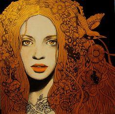 A delicate maiden. Art Nouveau painting.