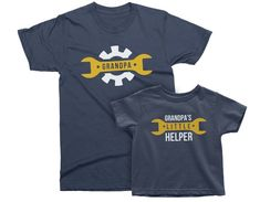 Daddy & Daddy's Little Helper. Christmas gift for Father and Son, Daughter, Baby. Matching Mechanic T-shirt Set. Father And Son, Gifts For Father, Funny Outfits, Daddys Little, Kids Shorts, Graphic Shirts, Birthday Shirts, Fashion Prints, T Shirts