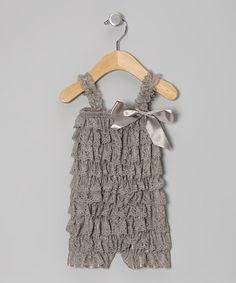 Another great find on #zulily! Gray Lace Ruffle Romper - Infant & Toddler #zulilyfinds