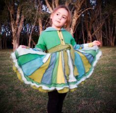 Size 5 Girls PiXIE COAT  Through the Meadow door sweetandblue